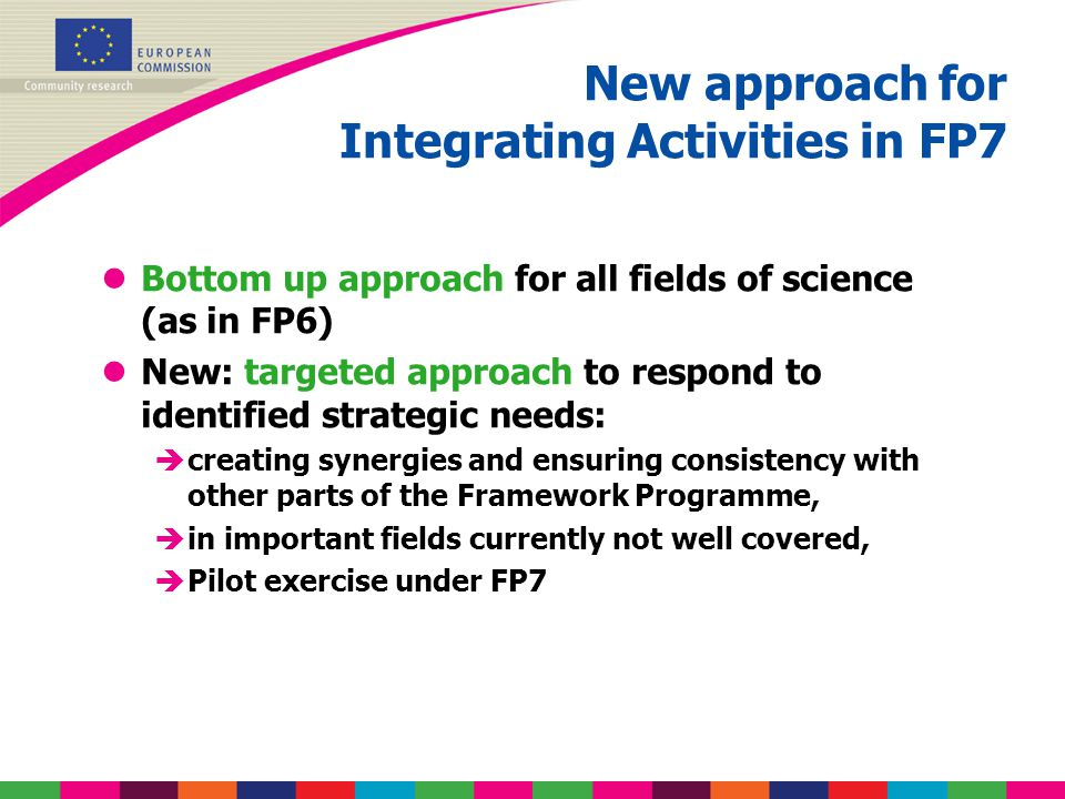New approach for Integrating Activities in FP7 lBottom up approach for all fields of science (as in FP6) lNew: targeted approach to respond to identif