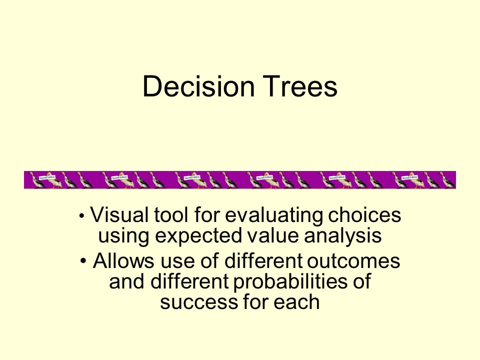 Decision Trees Visual tool for evaluating choices using expected value analysis Allows use of different outcomes and different probabilities of succes