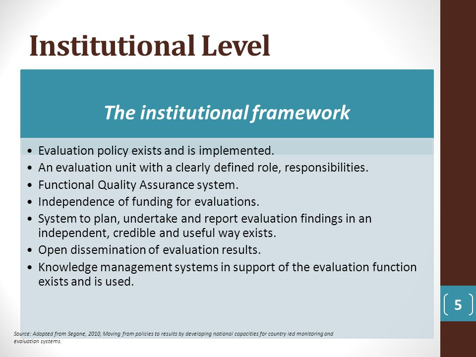 Institutional Level 5 The institutional framework Evaluation policy exists and is implemented. An evaluation unit with a clearly defined role, respons