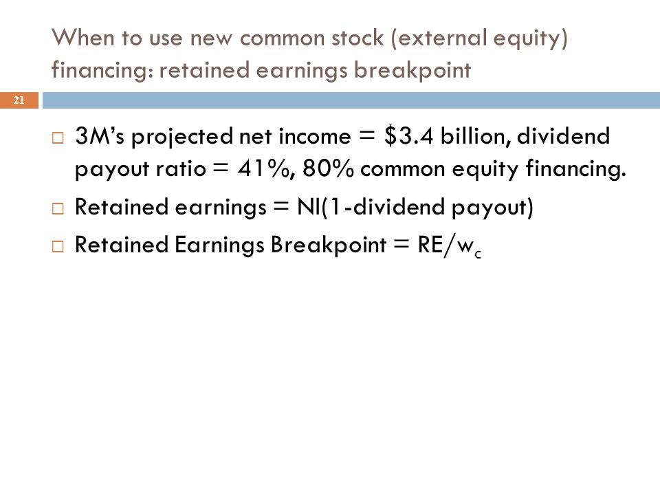 3M's Weighted Average Cost of Capital, WACC 20  Recall our previous estimates for 3M.  r d (1-T) = 3.6%, r p = 7.2%, r s = 10.9%  w d = 15% or 0.15