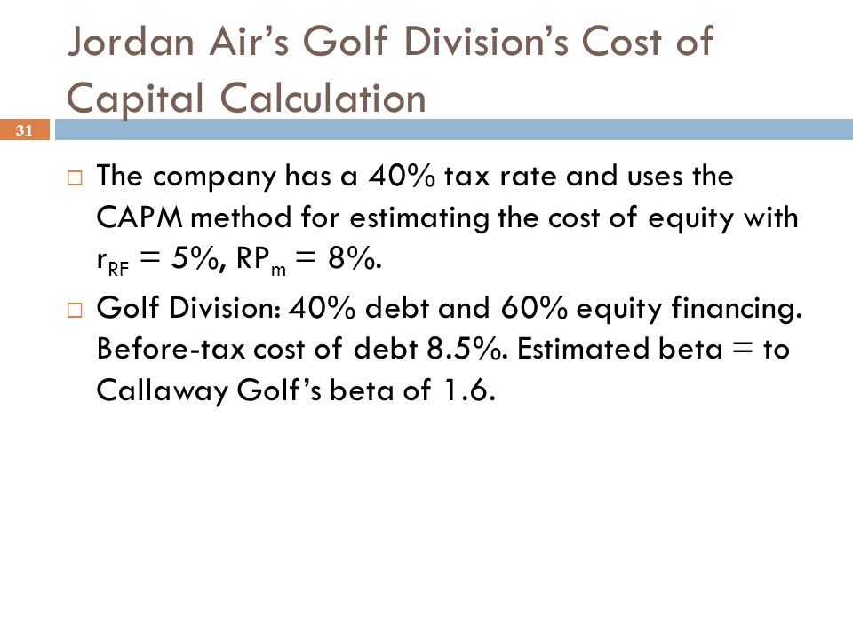 Jordan Air's Apparel Division's Cost of Capital Calculation 30  The company has a 40% tax rate and uses the CAPM method for estimating the cost of eq