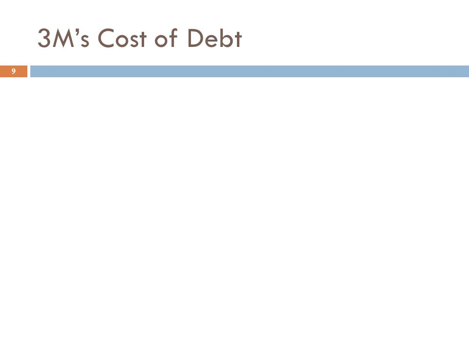 Cost of Debt Example 8  We want to estimate the cost of debt for 3M which has a marginal tax rate of 35%. We find the following bond quote. CoName Ra