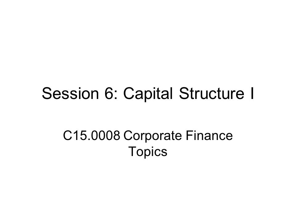 Outline Basic capital structure theory—irrelevance Debt and equity as options Tax effects Valuation