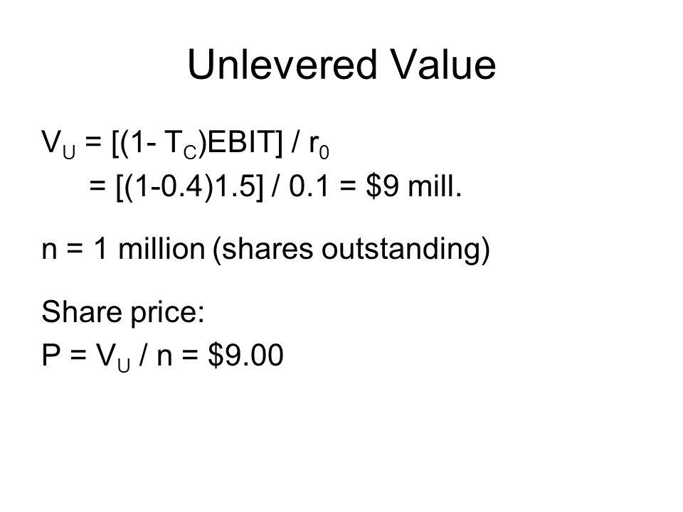 Unlevered Value V U = [(1- T C )EBIT] / r 0 = [(1-0.4)1.5] / 0.1 = $9 mill. n = 1 million (shares outstanding) Share price: P = V U / n = $9.00