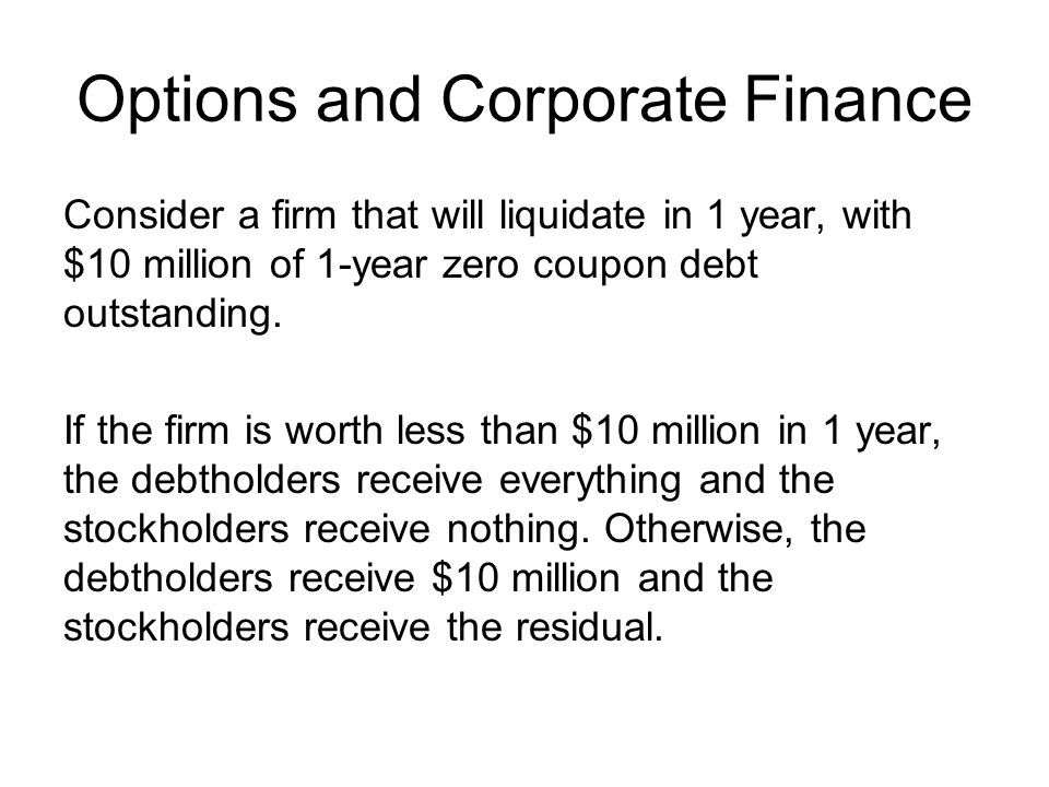 Options and Corporate Finance Consider a firm that will liquidate in 1 year, with $10 million of 1-year zero coupon debt outstanding. If the firm is w