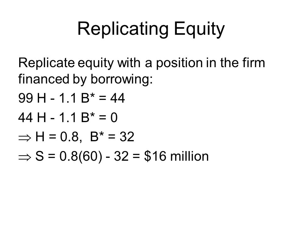 Replicating Debt Replicate debt with a position in the firm and a position in risk-free debt: 99 H - 1.1 B* = 55 44 H - 1.1 B* = 44  H = 0.2, B* = -32  B = 0.2(60) + 32 = $44 million  V = S + B = 16 + 44 = $60 mill.