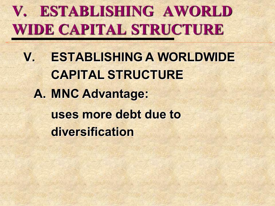 V.ESTABLISHING AWORLD WIDE CAPITAL STRUCTURE V.ESTABLISHING A WORLDWIDE CAPITAL STRUCTURE A.MNC Advantage: uses more debt due to diversification