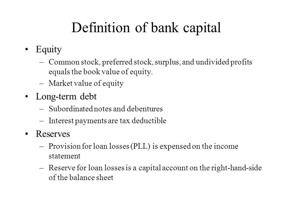 Definition of bank capital Equity –Common stock, preferred stock, surplus, and undivided profits equals the book value of equity.