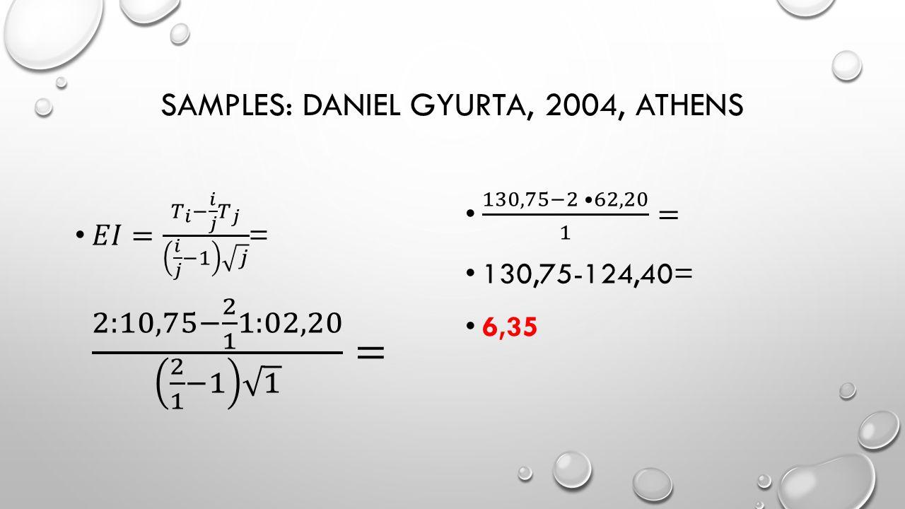 SAMPLES: DANIEL GYURTA, 2004, ATHENS