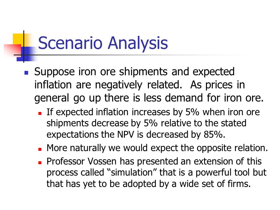 Scenario Analysis Suppose iron ore shipments and expected inflation are negatively related.
