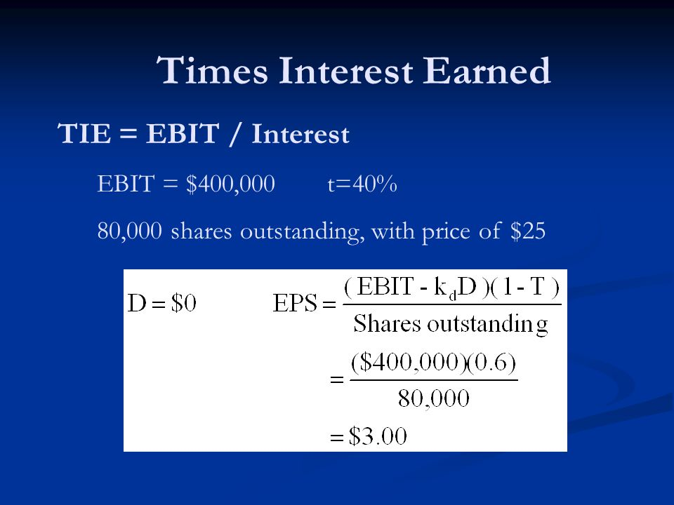 Times Interest Earned TIE = EBIT / Interest EBIT = $400,000 t=40% 80,000 shares outstanding, with price of $25