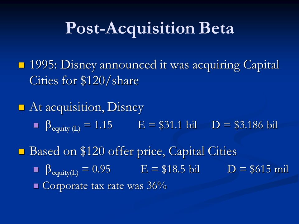 Post-Acquisition Beta 1995: Disney announced it was acquiring Capital Cities for $120/share 1995: Disney announced it was acquiring Capital Cities for $120/share At acquisition, Disney At acquisition, Disney  equity (L) = 1.15 E = $31.1 bil D = $3.186 bil  equity (L) = 1.15 E = $31.1 bil D = $3.186 bil Based on $120 offer price, Capital Cities Based on $120 offer price, Capital Cities  equity(L) = 0.95 E = $18.5 bilD = $615 mil  equity(L) = 0.95 E = $18.5 bilD = $615 mil Corporate tax rate was 36% Corporate tax rate was 36%