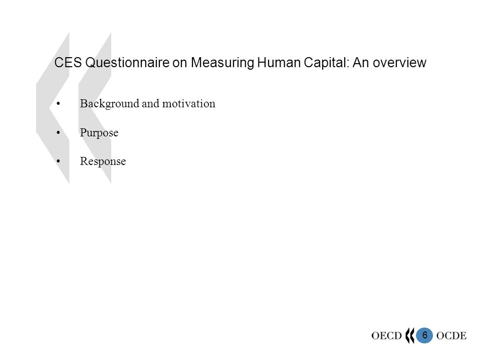 6 CES Questionnaire on Measuring Human Capital: An overview Background and motivation Purpose Response