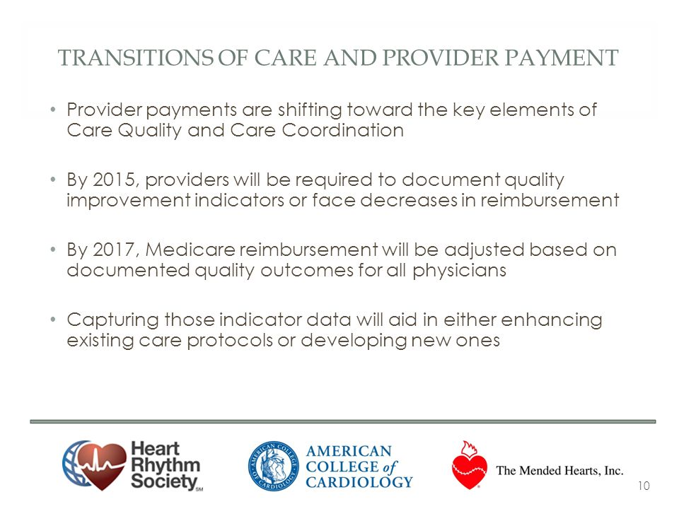 TRANSITIONS OF CARE AND PROVIDER PAYMENT Provider payments are shifting toward the key elements of Care Quality and Care Coordination By 2015, provide