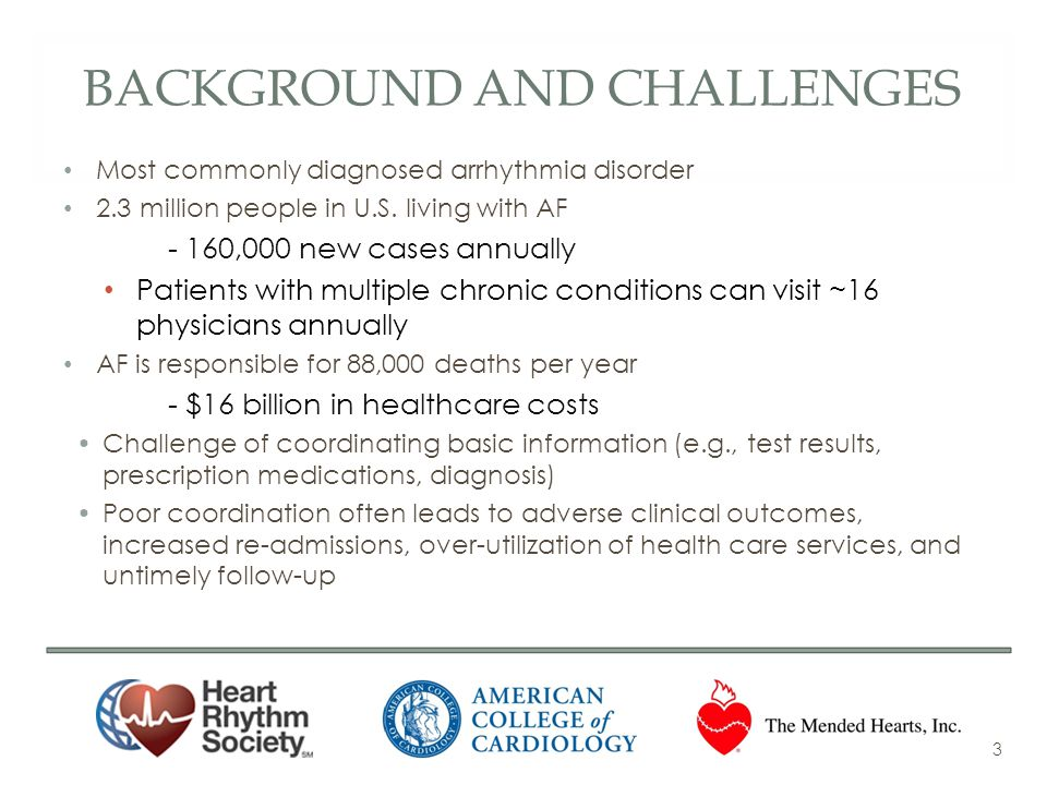 BACKGROUND AND CHALLENGES Most commonly diagnosed arrhythmia disorder 2.3 million people in U.S. living with AF - 160,000 new cases annually Patients