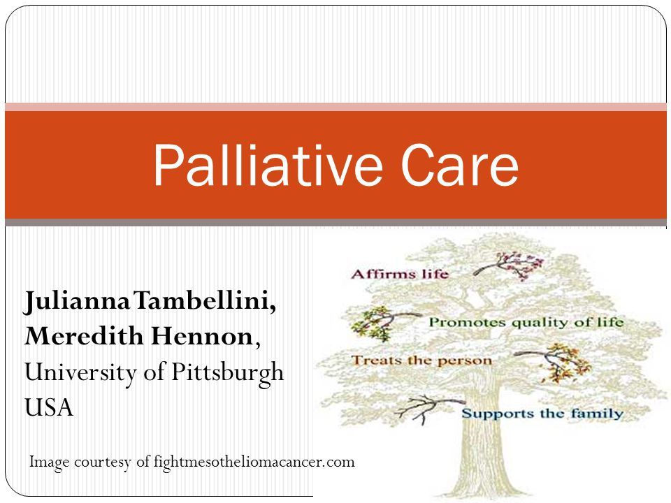 Palliative Care Image courtesy of fightmesotheliomacancer.com Julianna Tambellini, Meredith Hennon, University of Pittsburgh USA