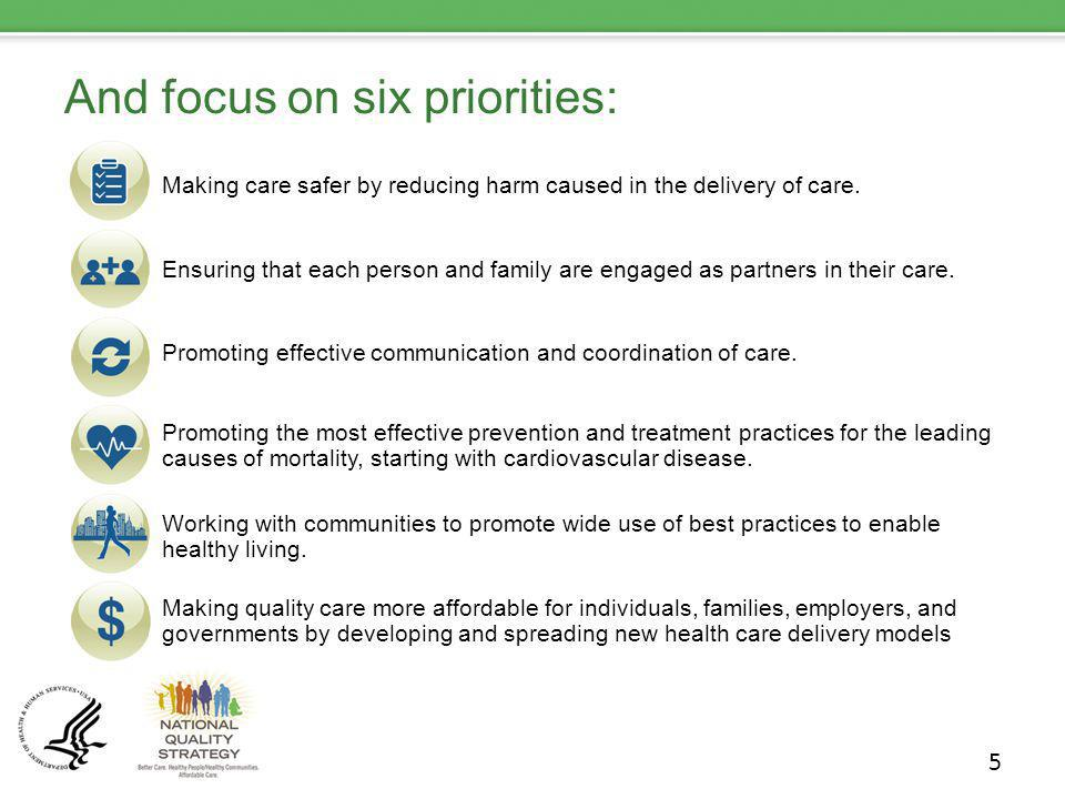 And focus on six priorities: Making care safer by reducing harm caused in the delivery of care. Ensuring that each person and family are engaged as pa
