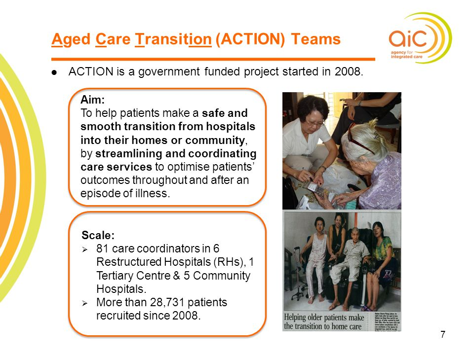 7 ACTION is a government funded project started in 2008. 7 Aged Care Transition (ACTION) Teams Aim: To help patients make a safe and smooth transition