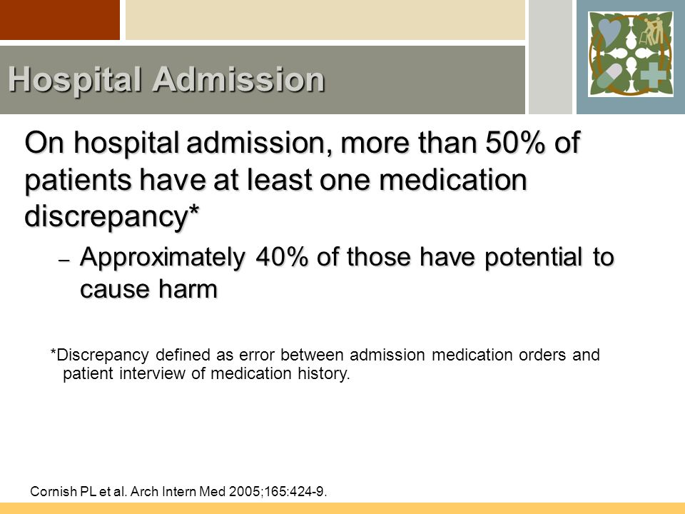 Hospital Admission On hospital admission, more than 50% of patients have at least one medication discrepancy* – Approximately 40% of those have potential to cause harm Cornish PL et al.