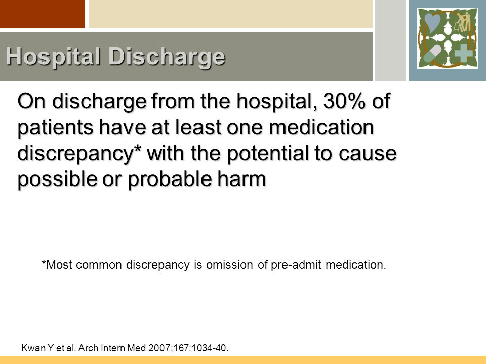 Hospital Discharge On discharge from the hospital, 30% of patients have at least one medication discrepancy* with the potential to cause possible or probable harm Kwan Y et al.