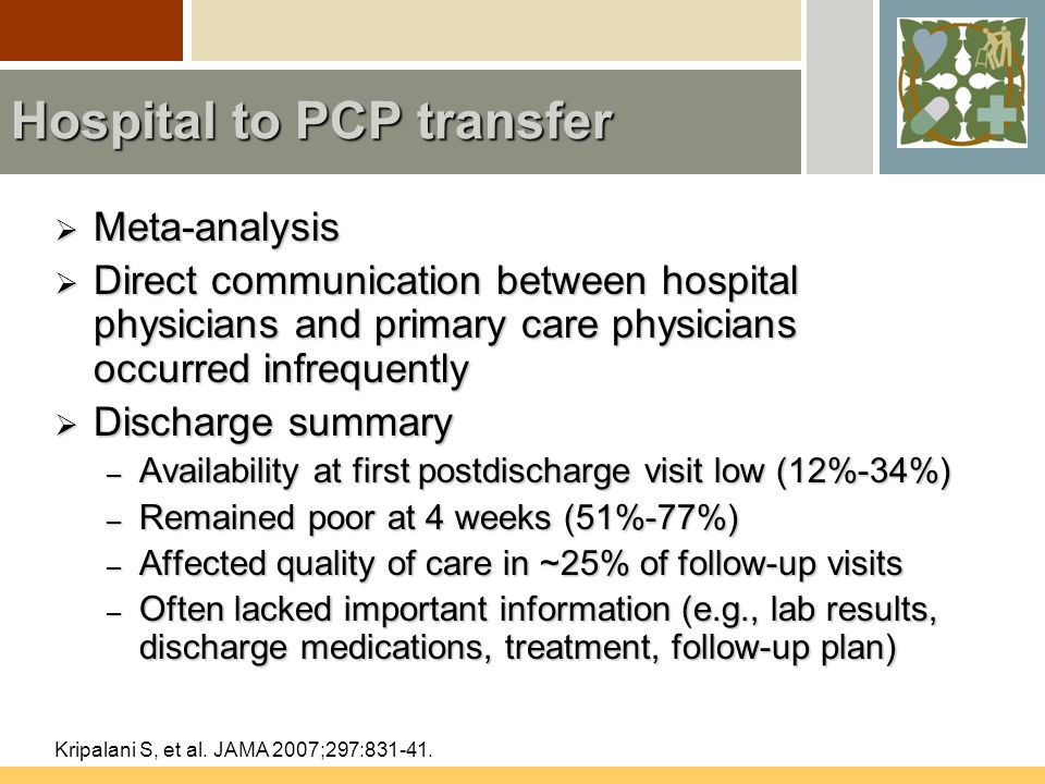 Hospital to PCP transfer  Meta-analysis  Direct communication between hospital physicians and primary care physicians occurred infrequently  Discharge summary – Availability at first postdischarge visit low (12%-34%) – Remained poor at 4 weeks (51%-77%) – Affected quality of care in ~25% of follow-up visits – Often lacked important information (e.g., lab results, discharge medications, treatment, follow-up plan) Kripalani S, et al.