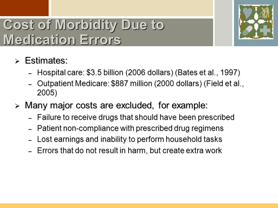 Cost of Morbidity Due to Medication Errors  Estimates: – Hospital care: $3.5 billion (2006 dollars) (Bates et al., 1997) – Outpatient Medicare: $887 million (2000 dollars) (Field et al., 2005)  Many major costs are excluded, for example: – Failure to receive drugs that should have been prescribed – Patient non-compliance with prescribed drug regimens – Lost earnings and inability to perform household tasks – Errors that do not result in harm, but create extra work