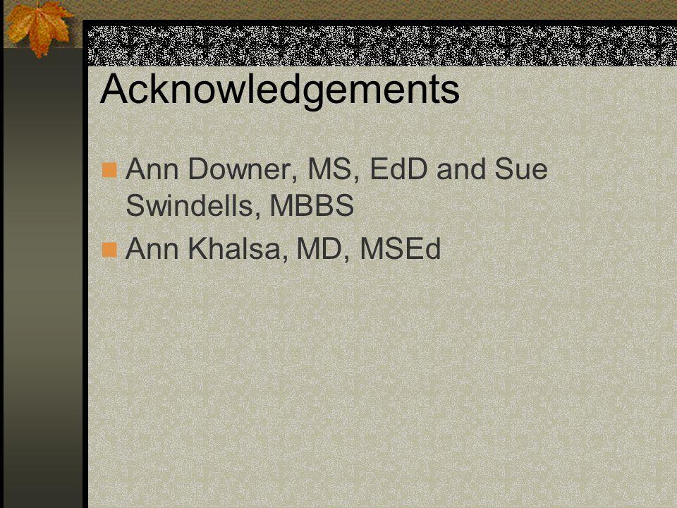 Acknowledgements Ann Downer, MS, EdD and Sue Swindells, MBBS Ann Khalsa, MD, MSEd