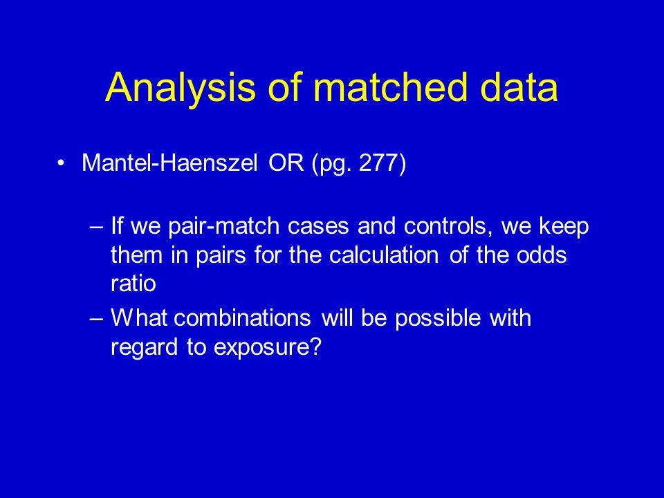 Analysis of matched data Mantel-Haenszel OR (pg.