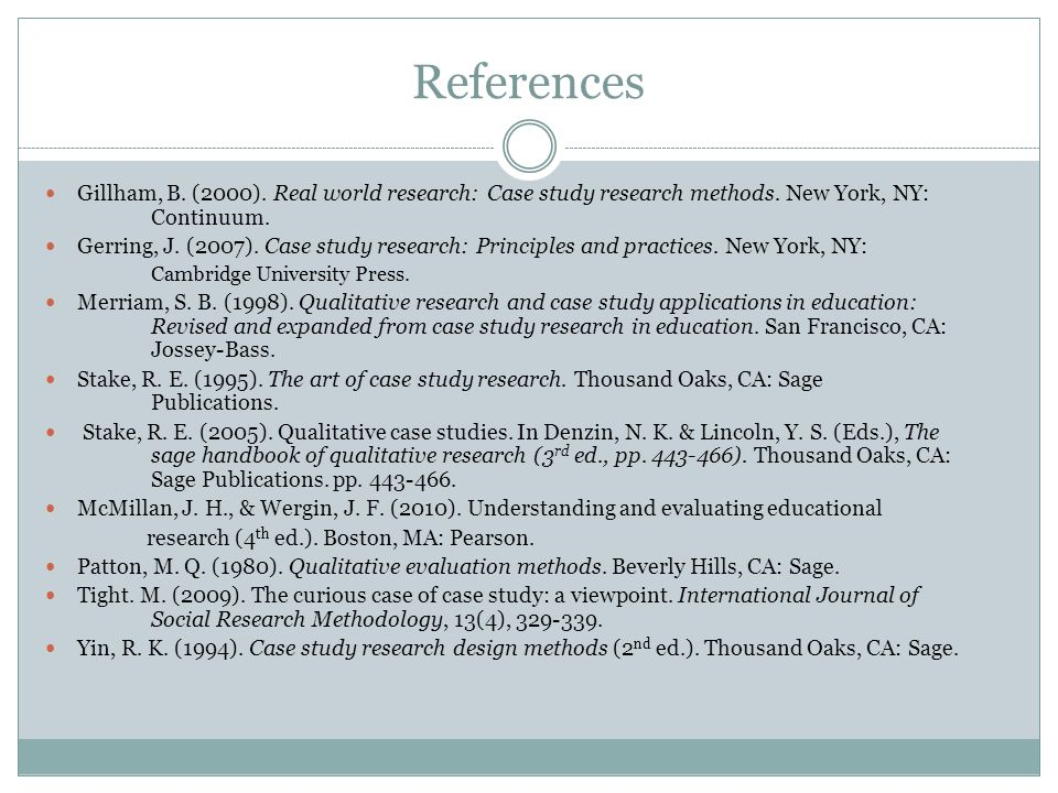 References Gillham, B. (2000). Real world research: Case study research methods.