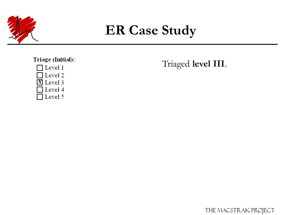 The Macstrak Project ER Case Study Triaged level III. X