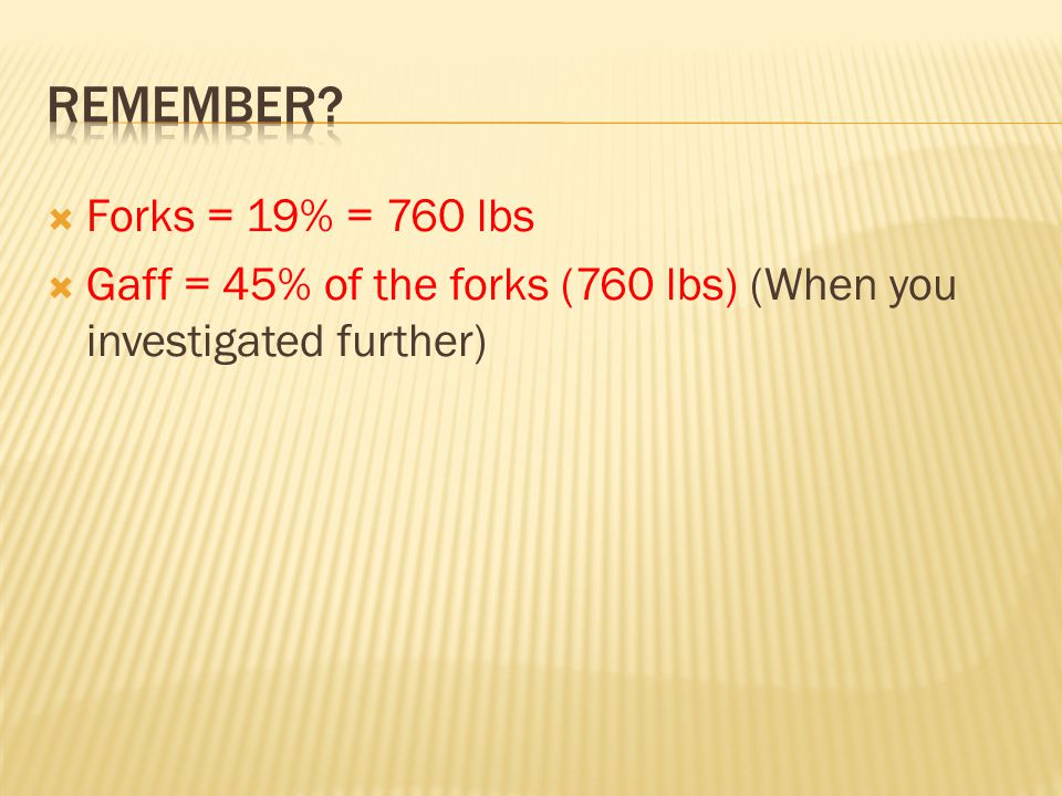  Forks = 19% = 760 lbs  Gaff = 45% of the forks (760 lbs) (When you investigated further)