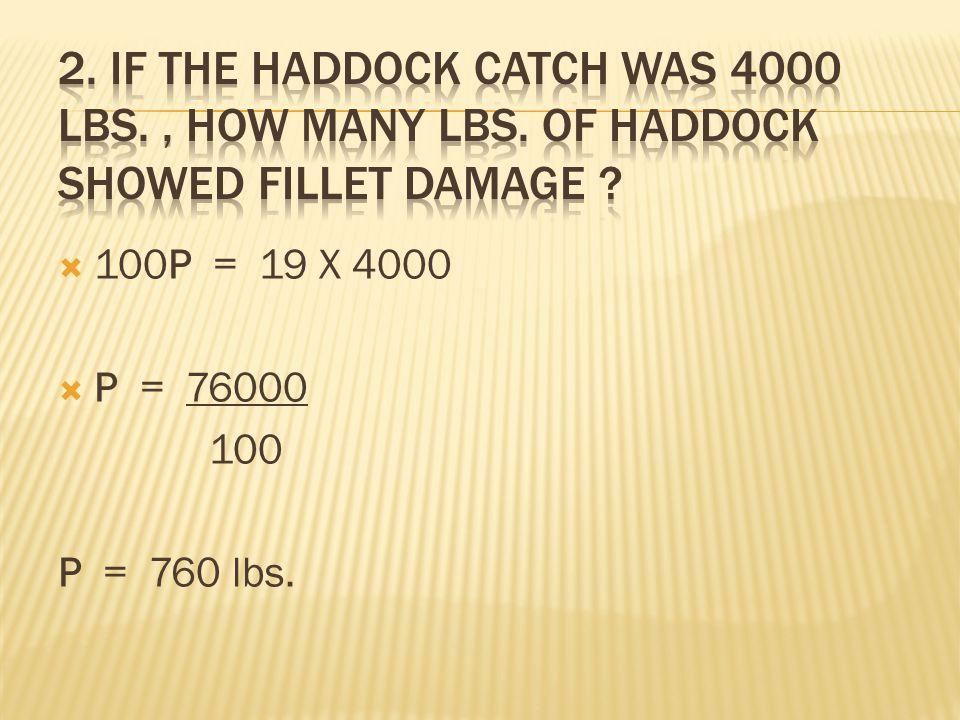  100P = 19 X 4000  P = 76000 100 P = 760 lbs.