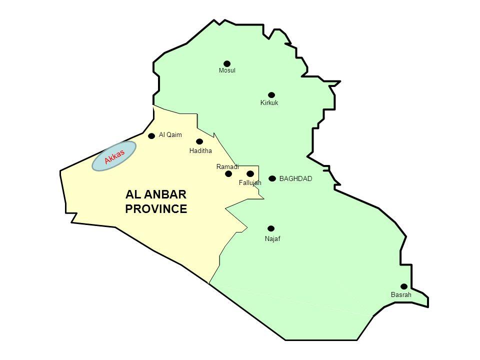 Mosul Kirkuk Ramadi Fallujah BAGHDAD Najaf Basrah Al Qaim AL ANBAR PROVINCE Haditha Akkas