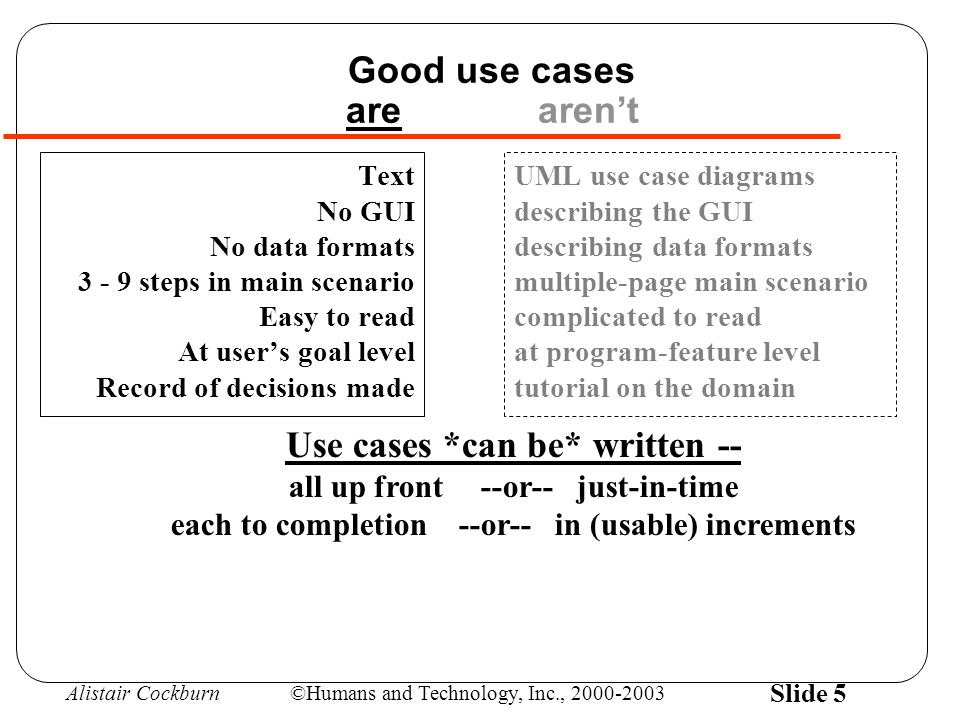 Alistair Cockburn©Humans and Technology, Inc., 2000-2003 Slide 46 Summary of Agile Use Cases User's goal level - Text - 3-9-step main scenario - No GUI - No data formats - Easy to read - Record of decisions made (not a tutorial) Write briefs and casuals to estimate & plan project Write full use cases just-in-time per iteration Just-in-time = extension-handling decisions made before the programmer gets around to asking for them.