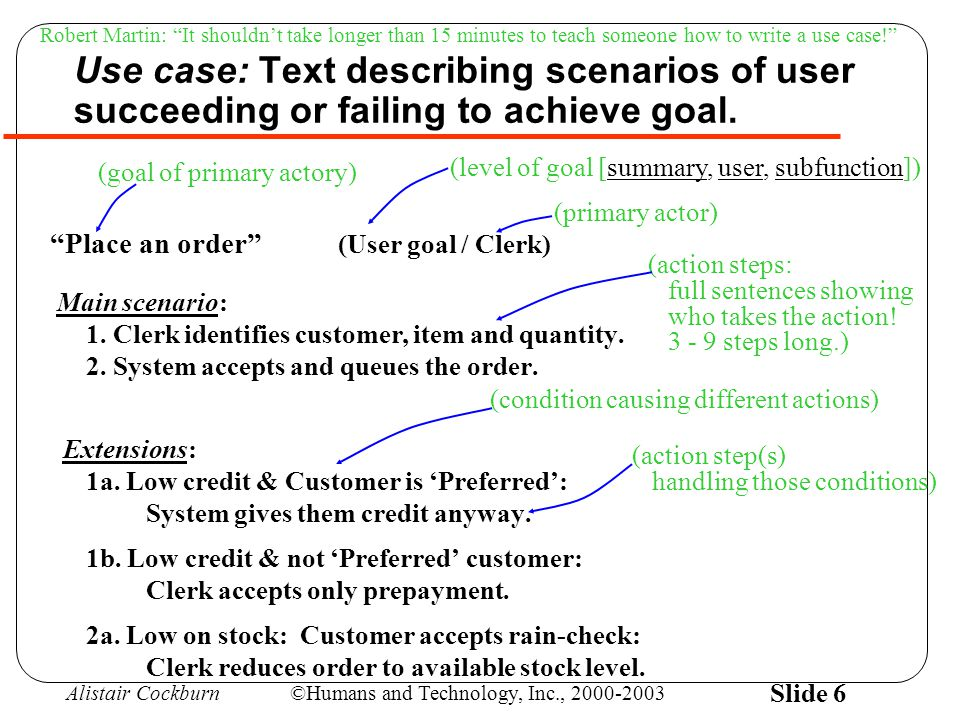 Alistair Cockburn©Humans and Technology, Inc., 2000-2003 Slide 7 Good use cases arearen't Text No GUI No data formats 3 - 9 steps in main scenario Easy to read At user's goal level Record of decisions made UML use case diagrams describing the GUI describing data formats multiple-page main scenario complicated to read at program-feature level tutorial on the domain Use cases *can be* written -- just-in-time --or--all up front in (usable) increments --or-- each to completion (more Agile) (more common)