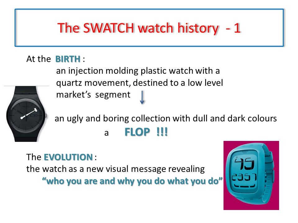 The SWATCH watch history - 2 The elements that built up the Swatch message high quality, low price, provocation, lust for life success .