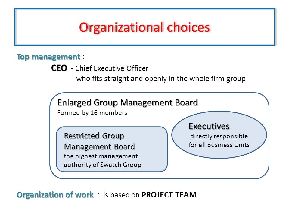 Organizational choices Top management Top management : CEO CEO - Chief Executive Officer who fits straight and openly in the whole firm group Organiza