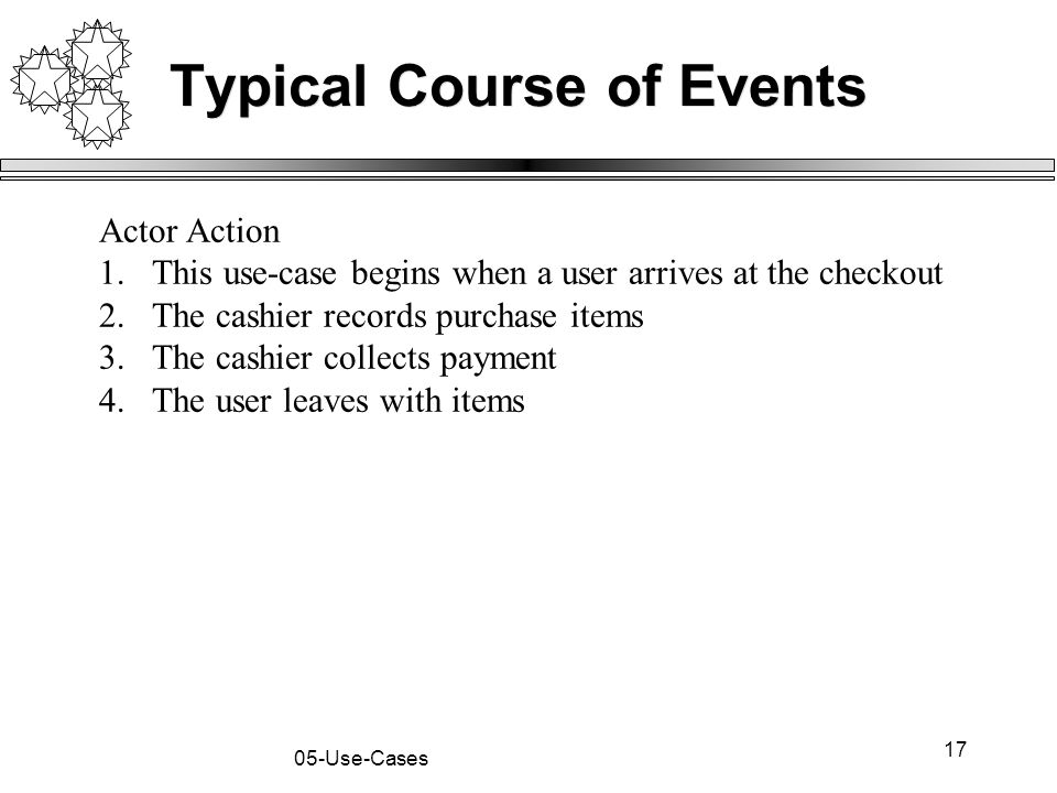 17 05-Use-Cases Typical Course of Events Actor Action 1.This use-case begins when a user arrives at the checkout 2.The cashier records purchase items