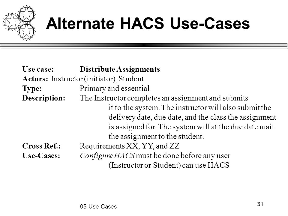 31 05-Use-Cases Alternate HACS Use-Cases Use case:Distribute Assignments Actors:Instructor (initiator), Student Type: Primary and essential Descriptio