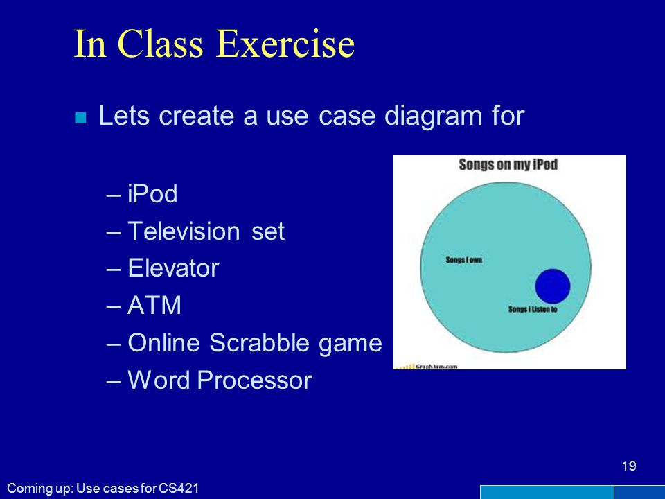 In Class Exercise n Lets create a use case diagram for –iPod –Television set –Elevator –ATM –Online Scrabble game –Word Processor Coming up: Use cases for CS421 19