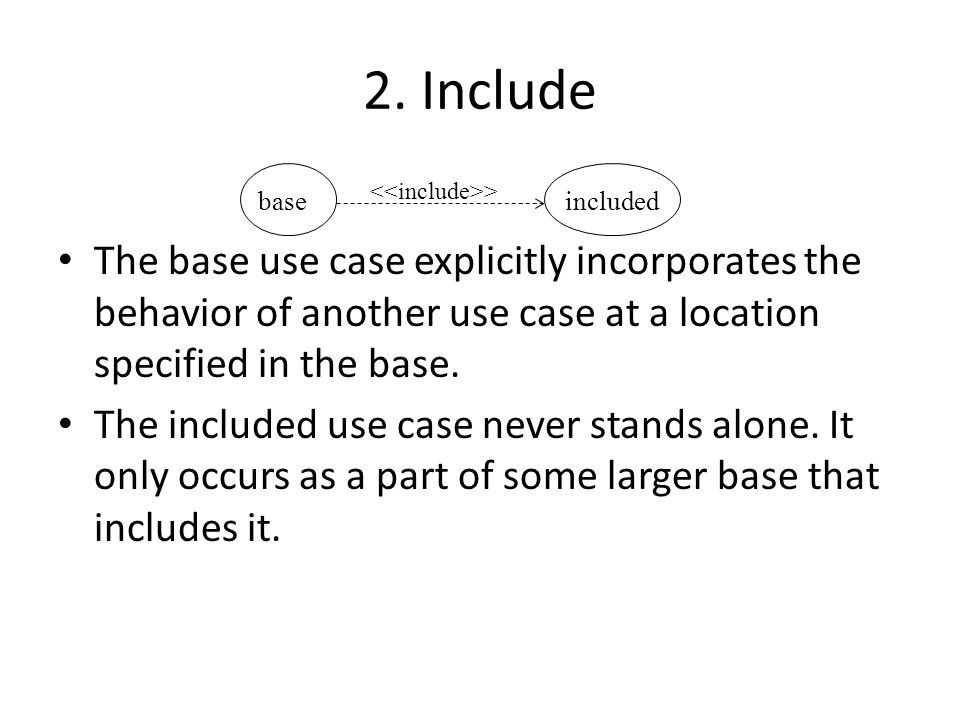 2. Include The base use case explicitly incorporates the behavior of another use case at a location specified in the base. The included use case never