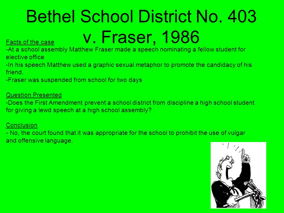 Bethel School District No. 403 v. Fraser, 1986 Facts of the case -At a school assembly Matthew Fraser made a speech nominating a fellow student for el