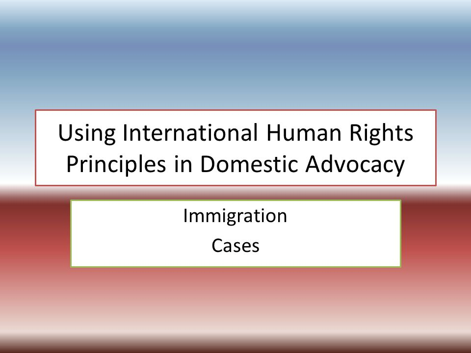 Using International Human Rights Principles in Domestic Advocacy Immigration Cases