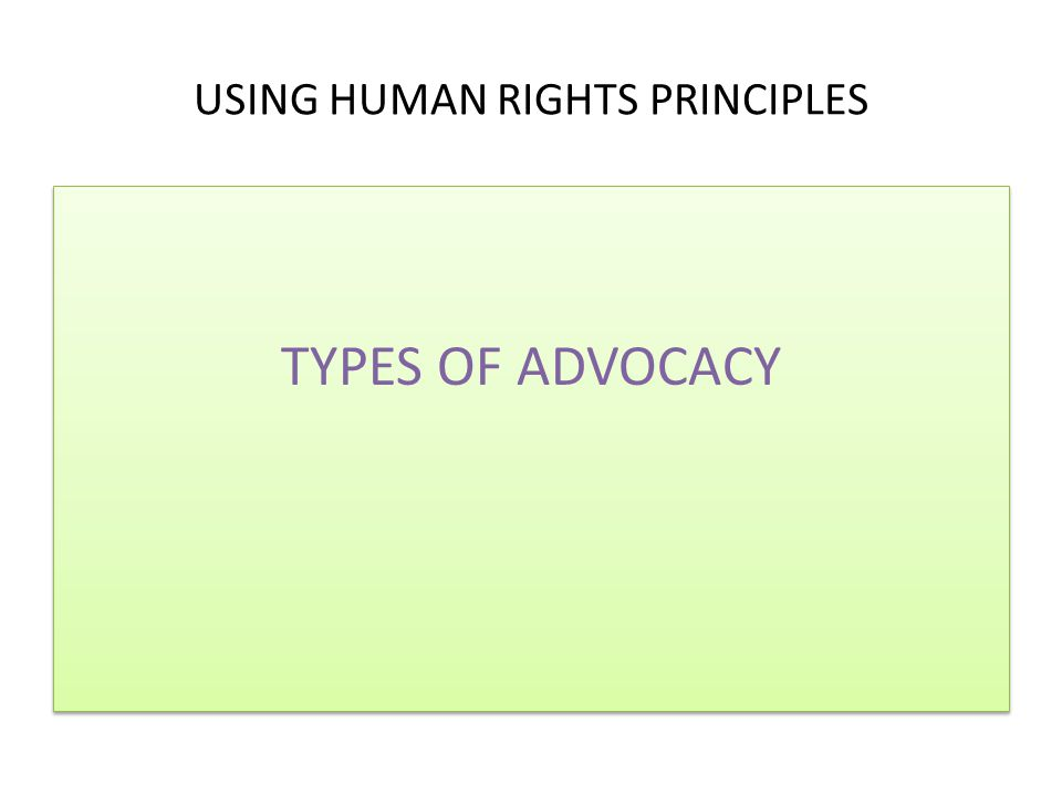 USING HUMAN RIGHTS PRINCIPLES TYPES OF ADVOCACY