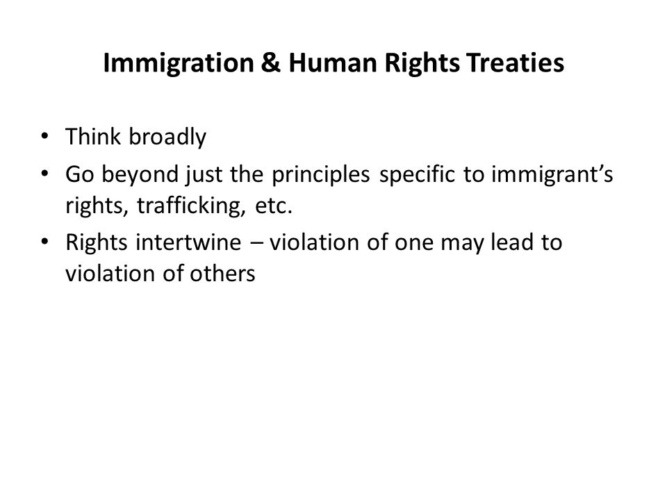 Immigration & Human Rights Treaties Non-discrimination/equal rights Family rights; children's rights Right to life; freedom from violence/torture Freedom from trafficking and/or slavery Protection for victims of crimes Right to seek asylum/non-refoulement Right to fair hearing/access to justice Freedom from arbitrary deprivation of liberty