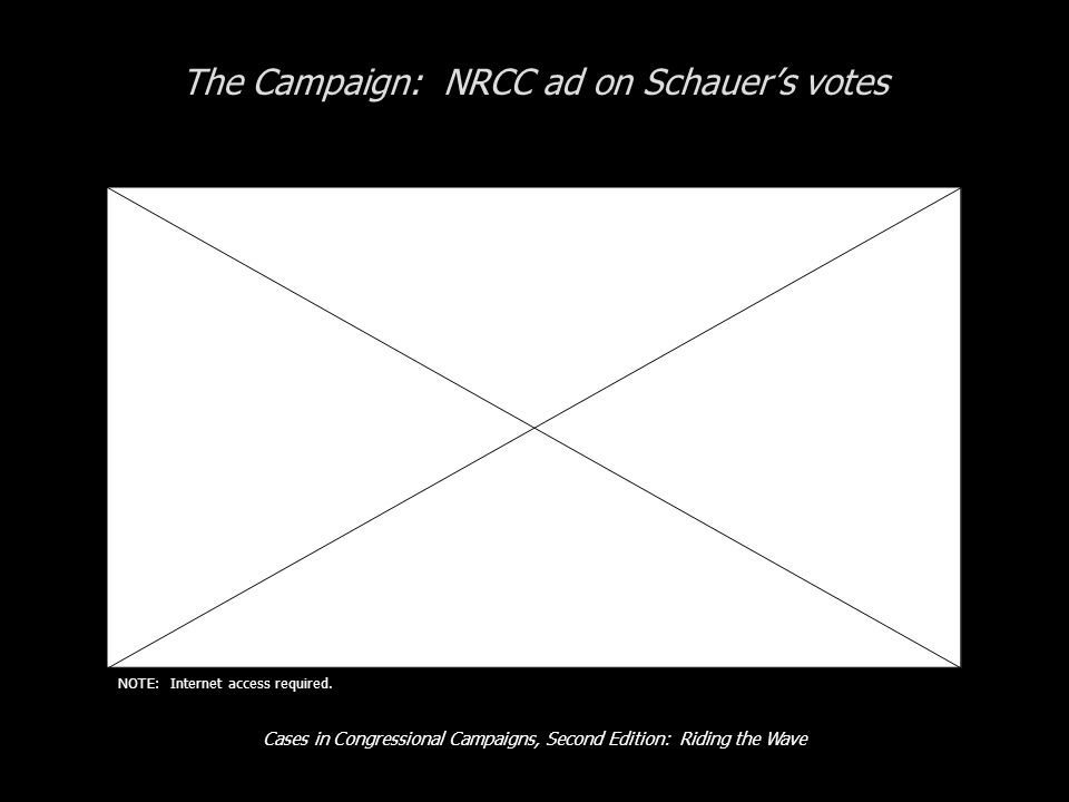 Cases in Congressional Campaigns, Second Edition: Riding the Wave The Campaign: NRCC ad on Schauer's votes NOTE: Internet access required.