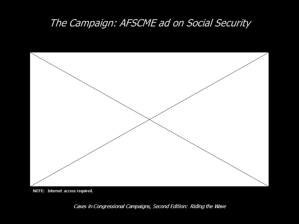 Cases in Congressional Campaigns, Second Edition: Riding the Wave The Campaign: AFSCME ad on Social Security NOTE: Internet access required.