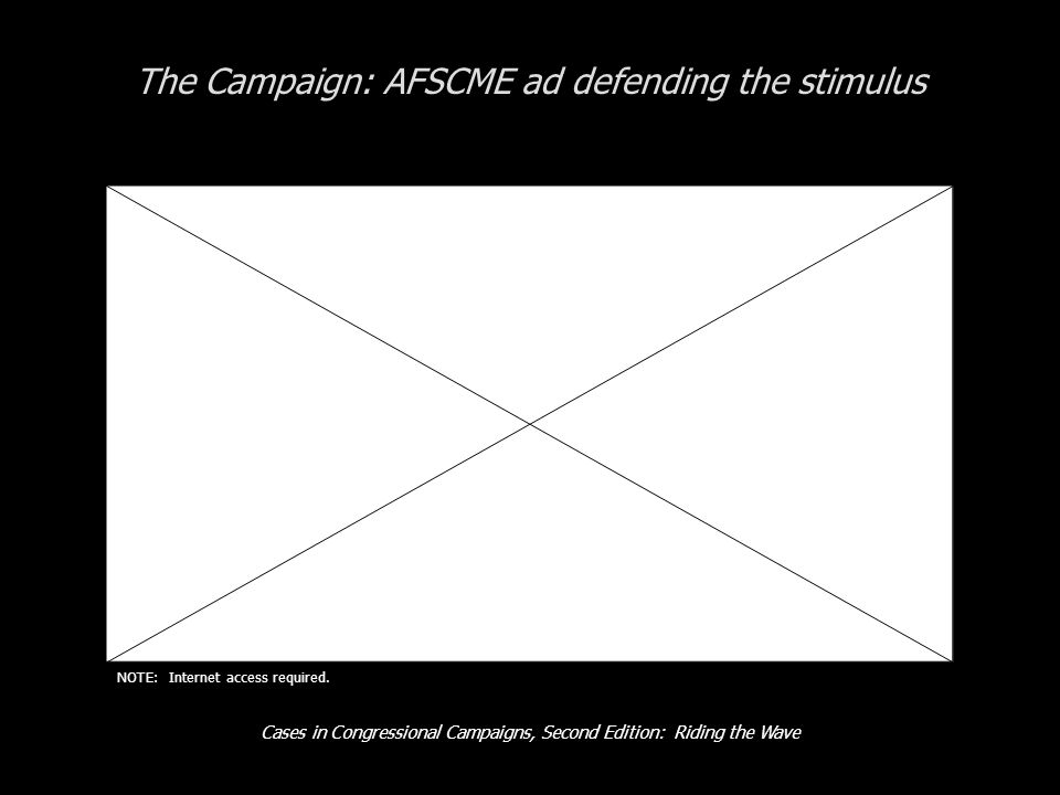 Cases in Congressional Campaigns, Second Edition: Riding the Wave The Campaign: AFSCME ad defending the stimulus NOTE: Internet access required.