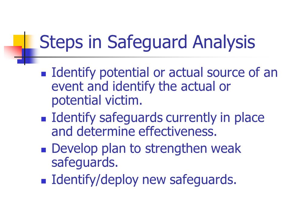 Steps in Safeguard Analysis Identify potential or actual source of an event and identify the actual or potential victim. Identify safeguards currently