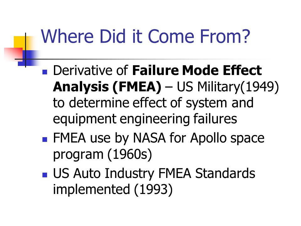 Where Did it Come From? Derivative of Failure Mode Effect Analysis (FMEA) – US Military(1949) to determine effect of system and equipment engineering